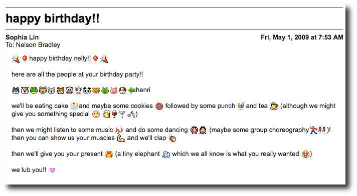 Birthday email from Sophia
