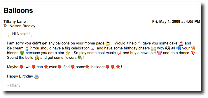 Birthday email from Tiffany